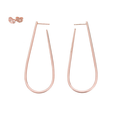 E339rg Large U Post Earrings in Rose Gold
