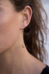 E349g.yg Gold & Silver Cinq Earrings in Yellow Gold and Sterling Silver - Model Image