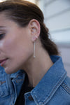 E349s.rg.yg Gold & Silver Cinq Earrings in Sterling Silver, Rose Gold and Yellow Gold - Model Image