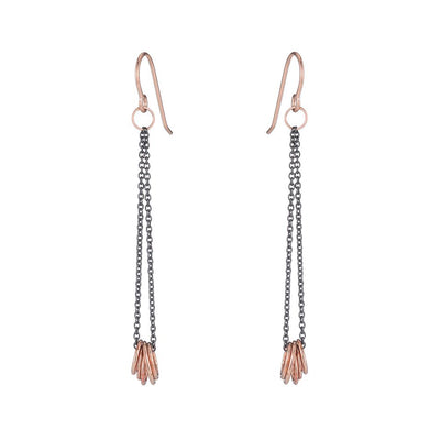 E349x.rg Black & Gold Cinq Earrings in Oxidized Silver and Rose Gold