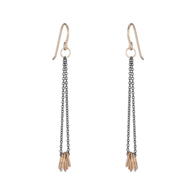 E349x.yg Black & Gold Cinq Earrings in Oxidized Silver and Yellow Gold