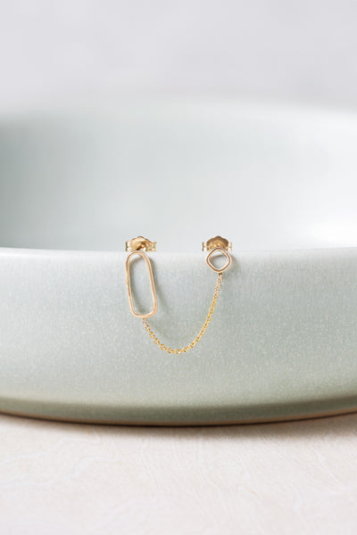 E352yg Square, Rectangle & Chain Double Post Earring in Yellow Gold