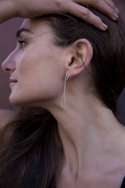 Rectangle & Chain Post Earrings (NEW!)