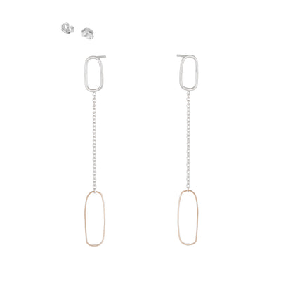 E353s.yg Rectangle & Chain Post Earring in Sterling Silver and Yellow Gold