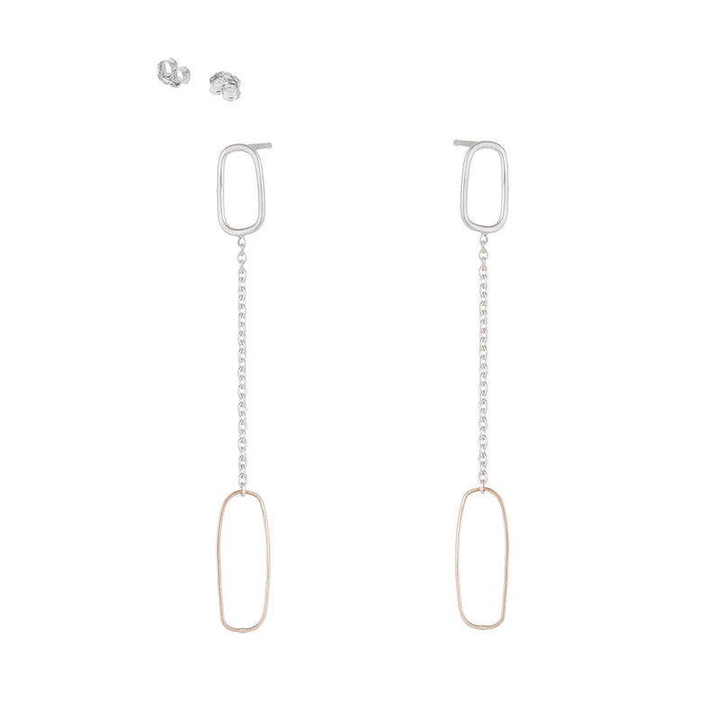 E353yg Rectangle & Chain Post Earring in Yellow Gold