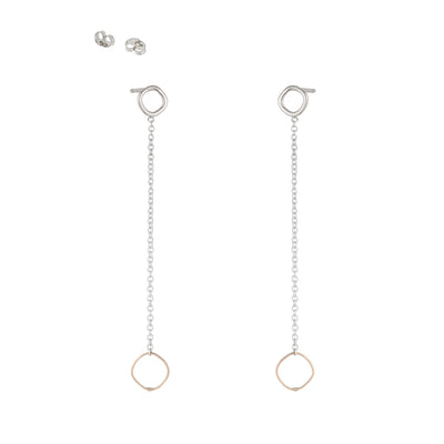 E354s.yg Square & Chain Post Earring in Sterling Silver and Yellow Gold