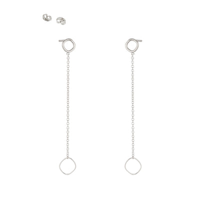 E354s Square & Chain Post Earring in Sterling Silver