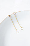 E354yg Square & Chain Post Earring in Yellow Gold