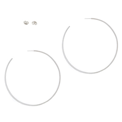 E355s Extra Large Classic Circle Hoops in Sterling Silver