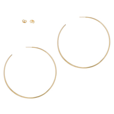 E355yg Extra Large Classic Circle Hoops in Yellow Gold