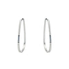 E357 Black & White Channel Continuous Trapezoid Hoop Earrings with Tiny Diamonds