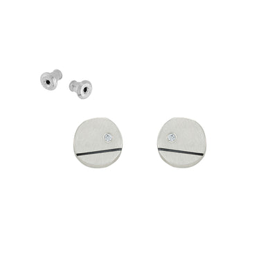 E360 Black & White Line and Disc Stud Earrings with Tiny Diamonds