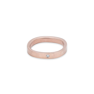 GRS3.rg-1.5 3mm Matte Rose Gold Hammered Round Ring with 1.5mm Diamond