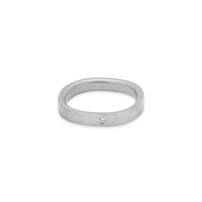 GRS3.wg-1.5 3mm Matte White Gold Hammered Round Ring with 1.5mm Diamond