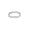 GRS3.wg-2.0 3mm Matte White Gold Hammered Round Ring with 2.0mm Diamond