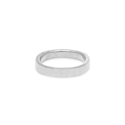 GRS3.wg 3mm Matte White Gold Hammered Round Ring
