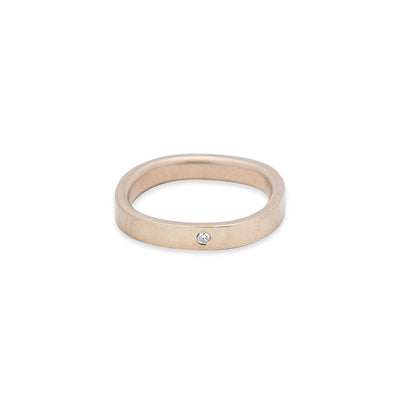 GRS3.yg-1.5 3mm Matte Yellow Gold Hammered Round Ring with 1.5mm Diamond