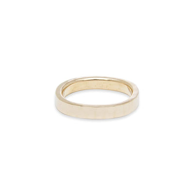 GRS3.yg 3mm Matte Yellow Gold Hammered Round Ring