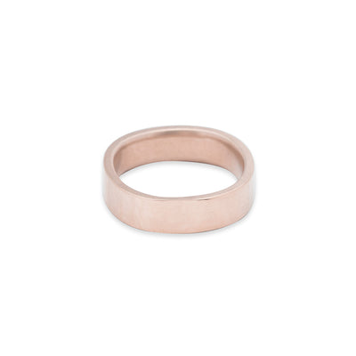 GRS5.rg 5mm Matte Rose Gold Hammered Round Ring