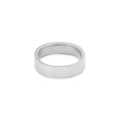 GRS5.wg 5mm Matte White Gold Hammered Round Ring