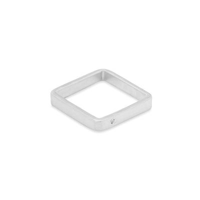GSQ3.wg-1.5 3mm Matte White Gold Hammered Square Ring with 1.5mm Diamond