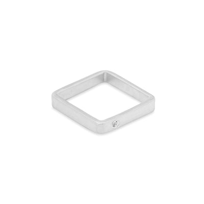 GSQ3.wg-2.0 3mm Matte White Gold Hammered Square Ring with 2.0mm Diamond