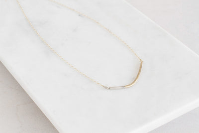 N276g.yg Mini Yellow Gold and Silver Inflecto Necklace on Yellow Gold Chain - Lifestyle Image