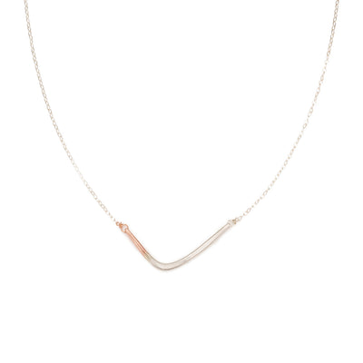 N276s.rg Silver and Rose Gold Mini Inflecto Necklace