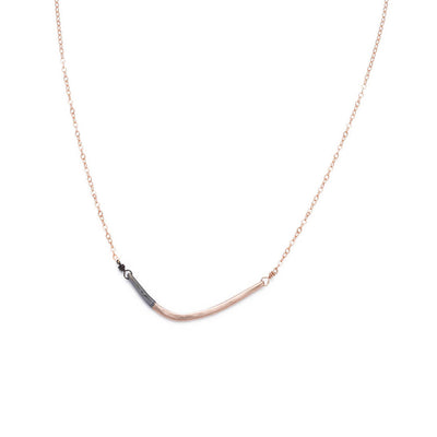 N276x.yg Black and Rose Gold Mini Inflecto Necklace