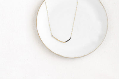 N276x.yg Black and Yellow Gold Mini Inflecto Necklace - Lifestyle Image