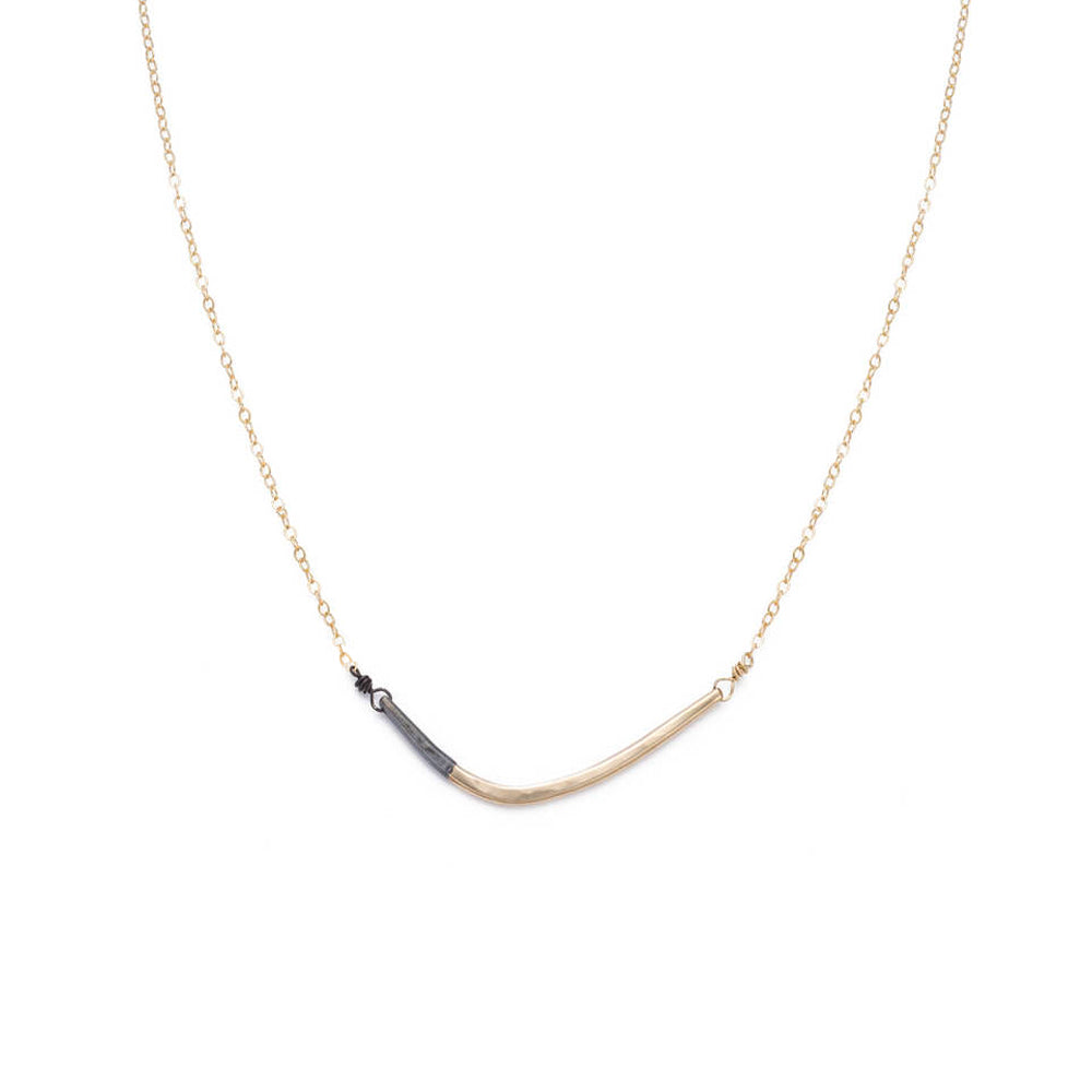 N276x.yg Black and Yellow Gold Mini Inflecto Necklace