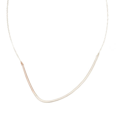 N277s.rg Silver and Rose Gold Inflecto Necklace on Silver Chain