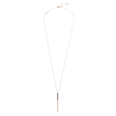 N290x.rg Long Black & Rose Gold Virga Necklace - Full Length Shot