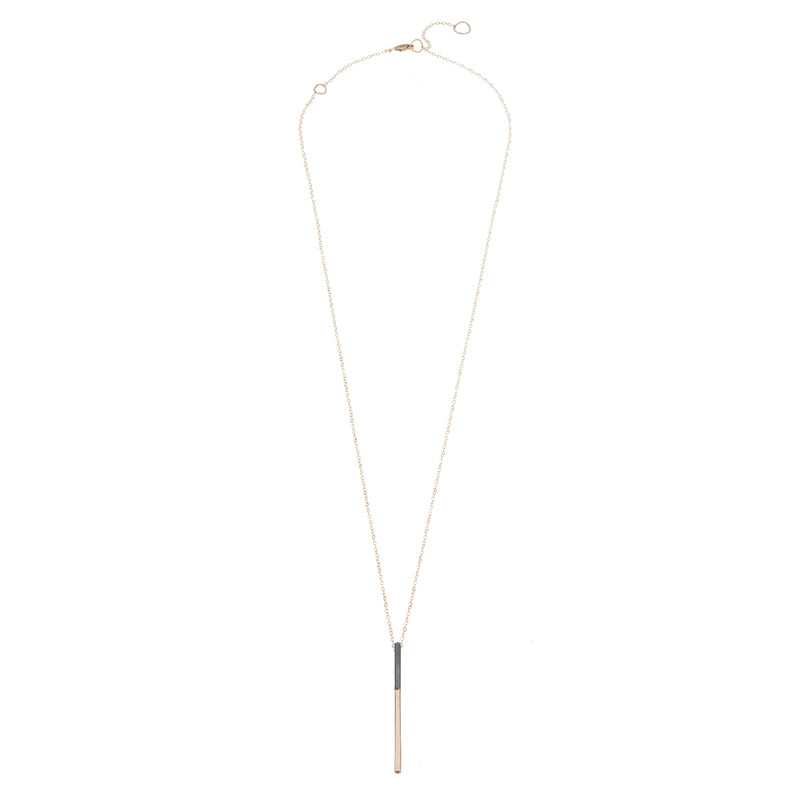 N290x.rg Long Black & Yellow Gold Virga Necklace