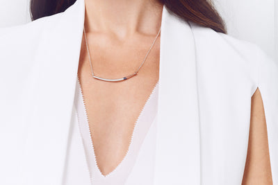 N291s.t.rg Mini Tri-Toned Arc Necklace in Silver, Black and Rose Gold on Silver Chain