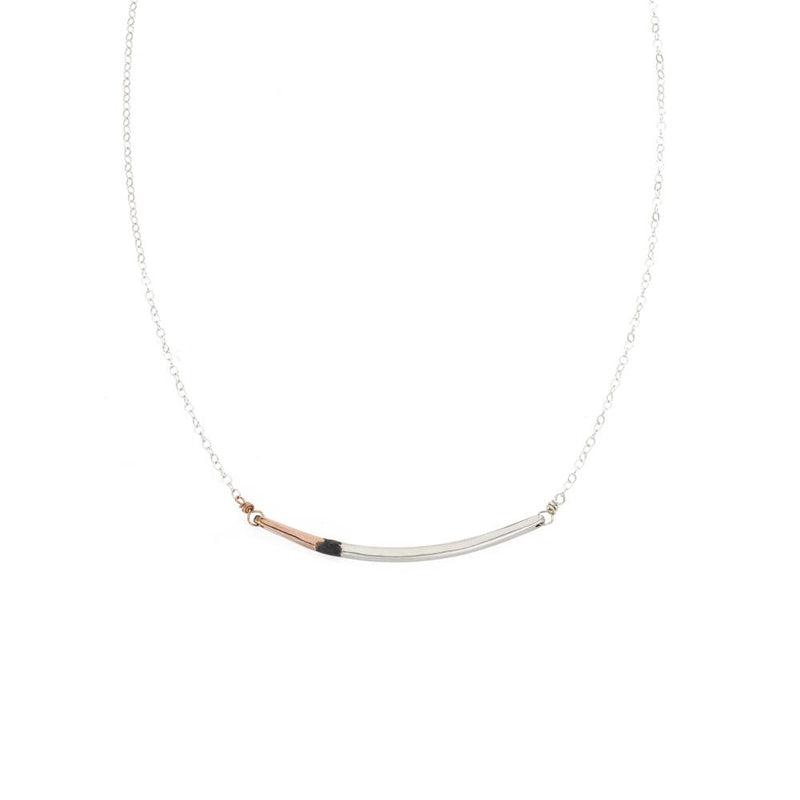 N291g.t.yg Mini Tri-Toned Arc Necklace in Yellow Gold, Silver and Black on Yellow Gold Chain