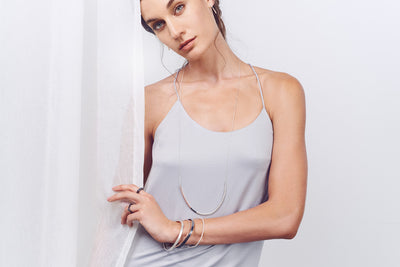 N294s.t.rg Long Tri-Toned U Necklace in Sterling Silver, Black Oxidized Silver and Rose Gold on Sterling Silver Chain - Model Image