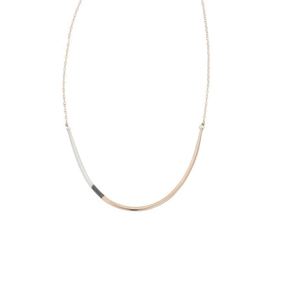 N294g.t.yg Long Tri-Toned U Necklace in Yellow Gold, Sterling Silver and Black Oxidized Silver