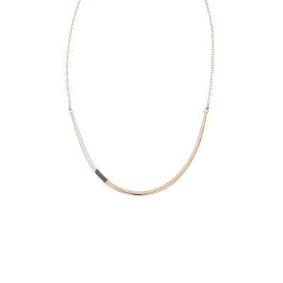 N295g.t.yg Tri-Toned U Necklace in Yellow Gold, Sterling and Black Oxidized Silver