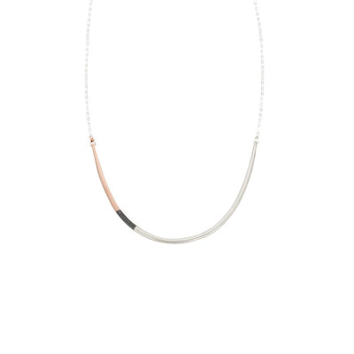 N295s.t.rg Tri-Toned U Necklace in  Sterling Silver, Black Oxidized Silver and Rose Gold on Sterling Silver Chain