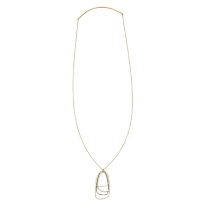 N299g.yg Gold, Black and Silver Long Multi Triangle Necklace in Yellow Gold - Full Length Image