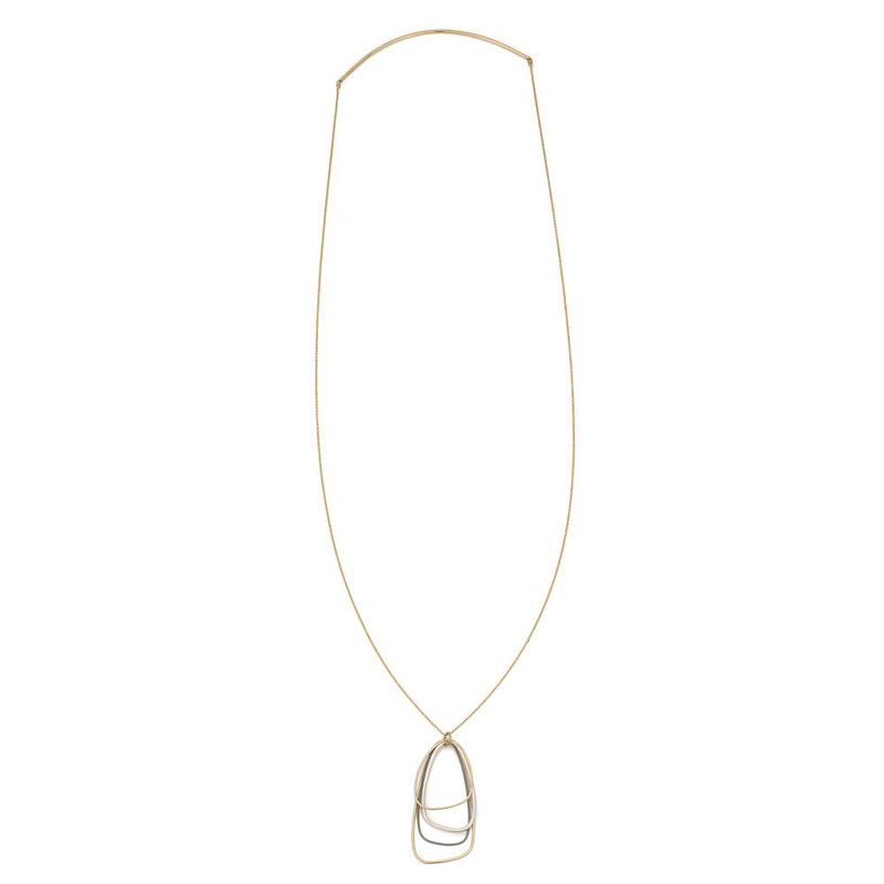 N299g.yg Gold, Black and Silver Long Multi Triangle Necklace in Yellow Gold
