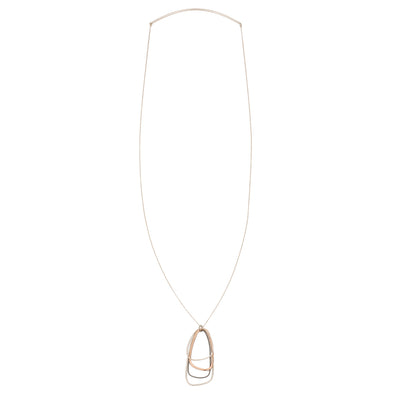 N299s.rg Long Mixed Metal Multi Triangle Necklace in Black Oxidized & Sterling Silver and Rose Gold - Full Length Image