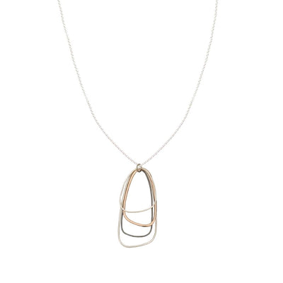 N299s.rg Long Mixed Metal Multi Triangle Necklace in Black Oxidized & Sterling Silver and Rose Gold