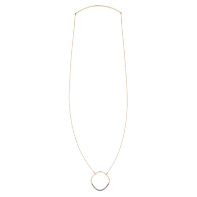 N301x.yg Long Two-Toned Mixed Metal Rounded Square Necklace in Yellow Gold and Black Oxidized Silver - Full Length Image