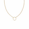 N303yg Simple Rounded Square Necklace in Yellow Gold on Fine Chain