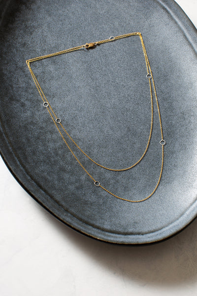 N304g.yg-L Delicate Chain Necklace in Yellow Gold and Sterling Silver