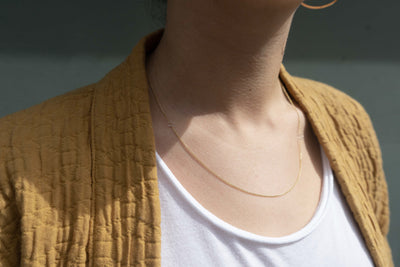 Silver & Gold Delicate Chain & Square Necklace (NEW!)