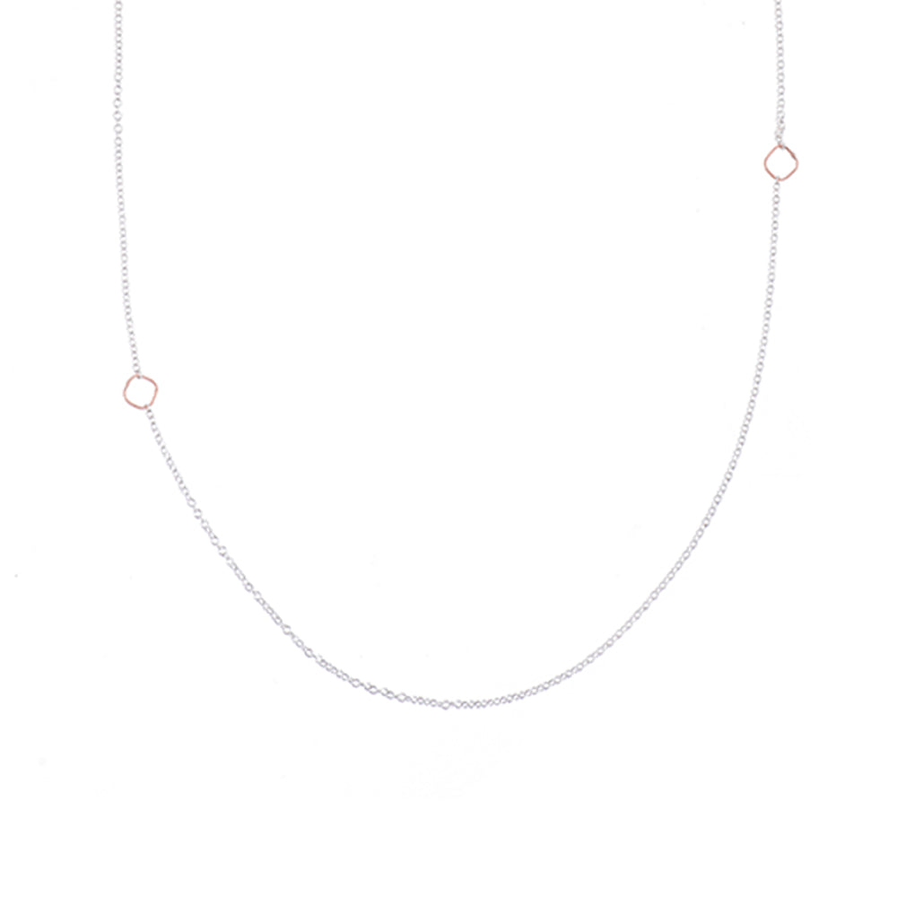 N304s.rg Silver and Rose Gold Delicate Chain Necklace