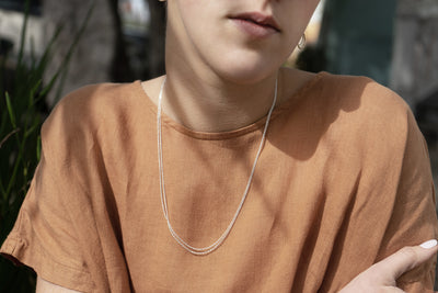 N305 Delicate Double Sterling Silver Monotone Chain Necklace - Model Image